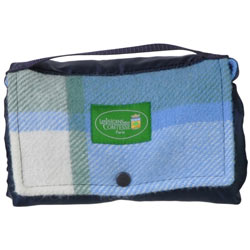 Picknickplaid Wandeling in blauwe fleece,